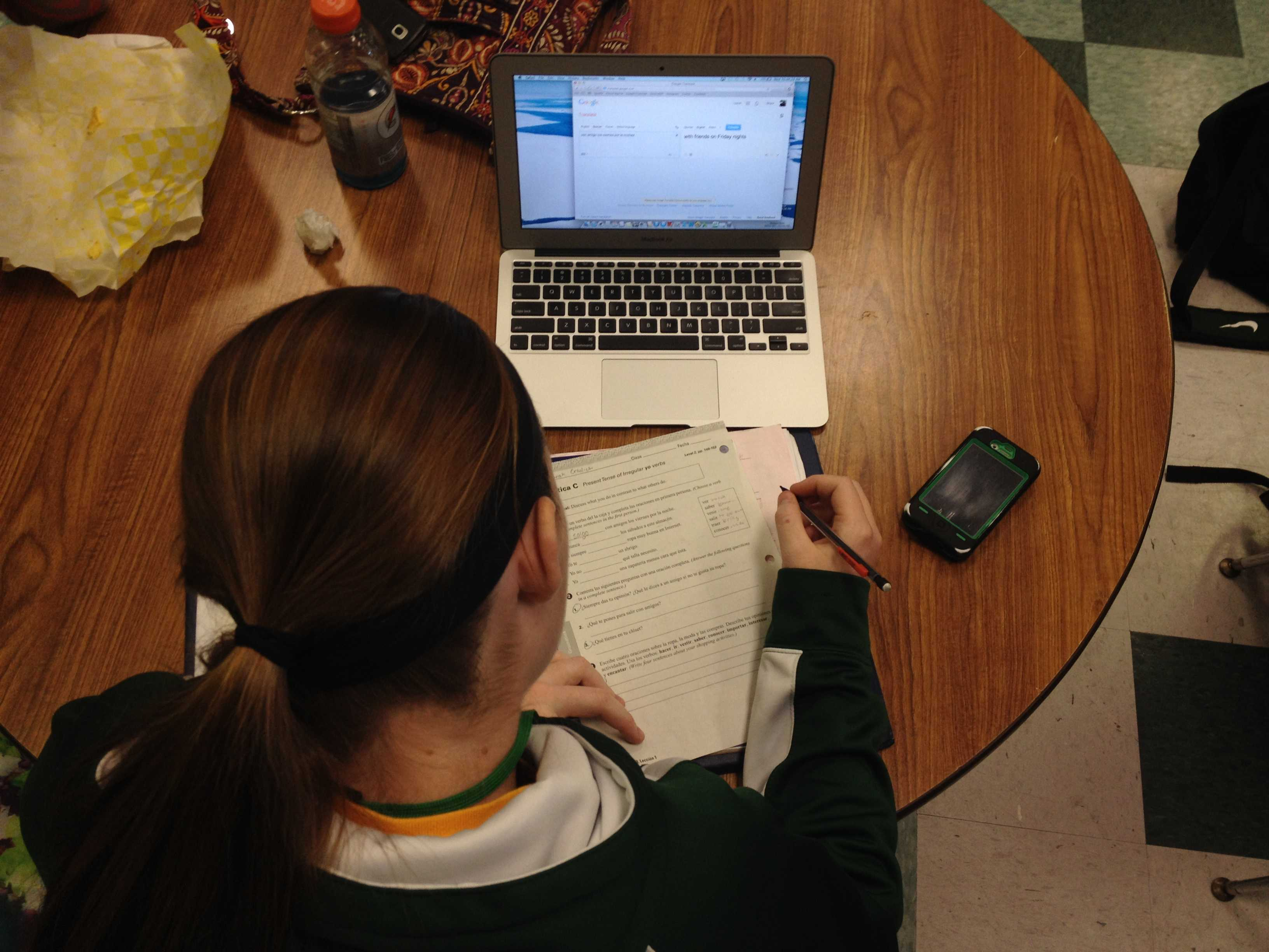 Sarah Cradick studies over her notes during an Academic Lab as finals week approaches.