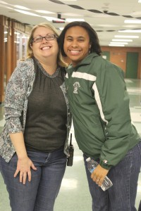 Tiffany Besse, right, chaperones the My Tie Dance with POS School Principal Dr. Donna Burd. Besse has been named the new director of secondary education.