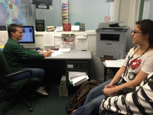 College counselor Julie Kampschroeder meets with junior Daniela Hinojosa to focus on post-high school plans