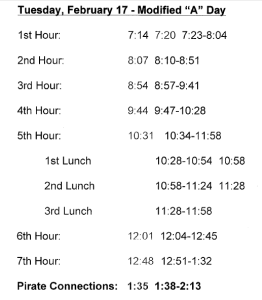 Stop Day Schedule