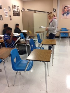 Haar teaches students in her new English class.