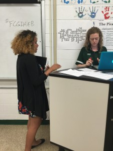 Nadia Maddex discussing Honors Choir Auditions