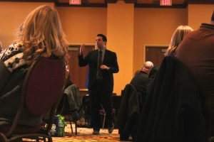 George Couros presents his session, 'Leadership Luncheon: Leading Innovative Change.""