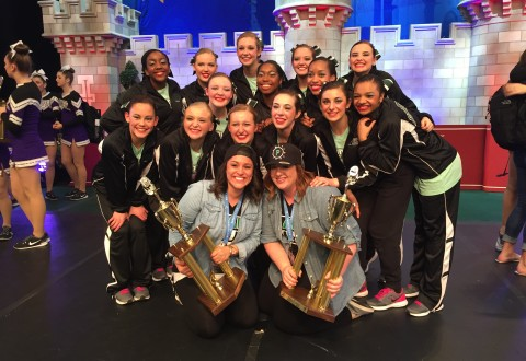 The Varsity Drill Team poses with their trophies for finishing in 8th place and 16th place in hip hop and pom, respectively, at Nationals on Sunday, Jan. 31. (Submitted photo)
