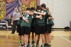 Varsity boys at the district tournament before a game.