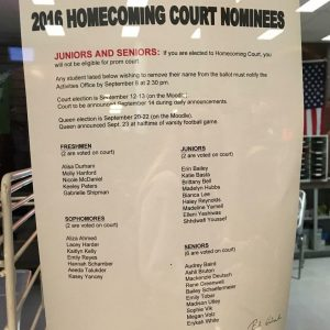 Homecoming Court nominees were announced last week. From that list, the Homecoming Court was formed after students voted on the Moodle for class representatives.