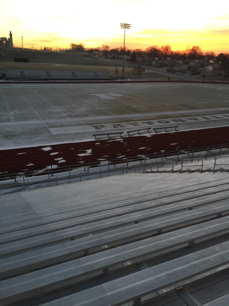 Snow+sits+on+the+Pattonville+stadium+%28Photo+by+Tanner+Harris%29