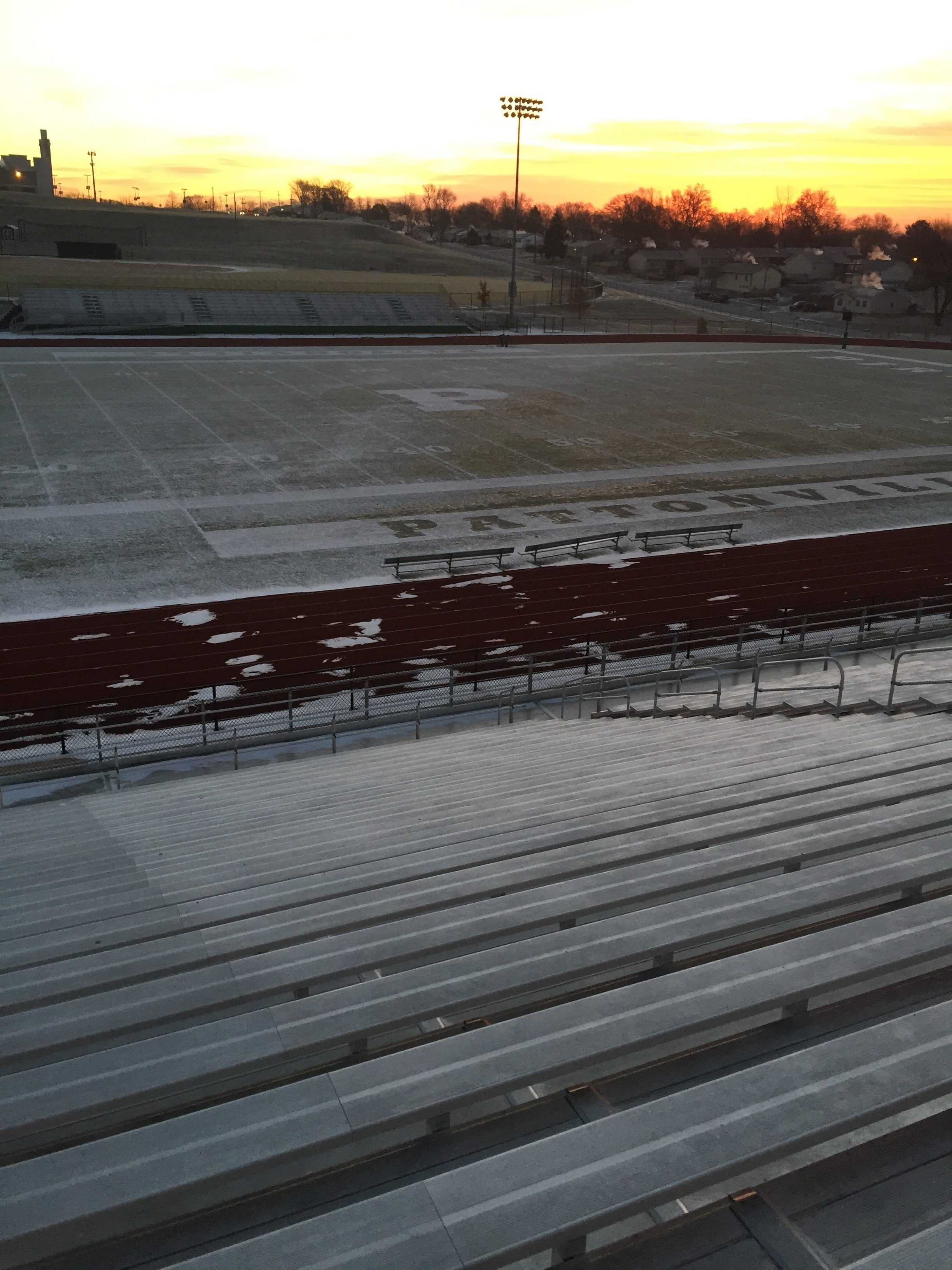 Snow sits on the Pattonville stadium (Photo by Tanner Harris)