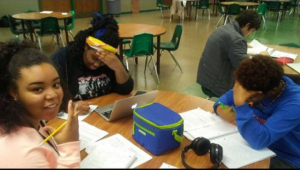 Summer Davis and friends study during the Finals Frenzy.