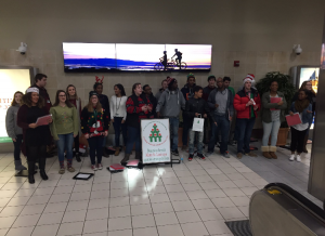 The Chamber Choir caroling at Lambert airport.