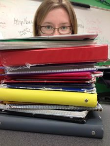 Courtney Faasen shows her study material.