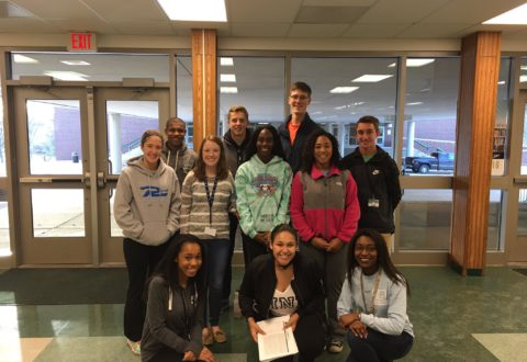 Students involved in Pattonville United take a group picture. They worked with 8th graders from Remington Traditional that visited the high school on Jan. 6 and answered their questions and took them on a tour of the school.