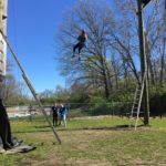 Senior Roma Patel coming down from one of the challenge courses.