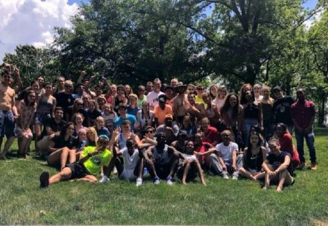The senior class poses for a group photo at the class picnic.