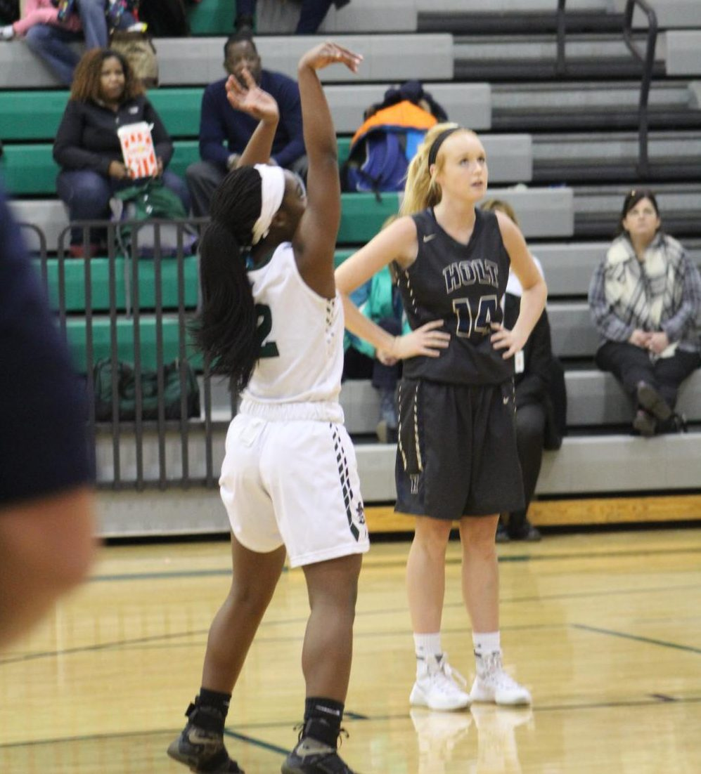 Niya Danfort shoots a free throw at a Pattonville home game during her sophomore (2016-2017) season. (File photo)
