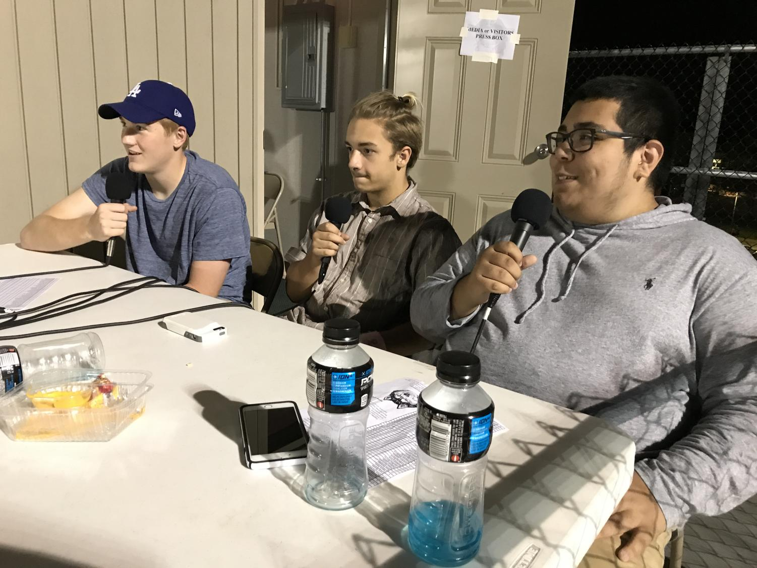 Juniors Brandon Clark, Brandon Tiepelman and Jorge Coronado broadcast a football game for PattonvilleTODAY on Facebook Live.