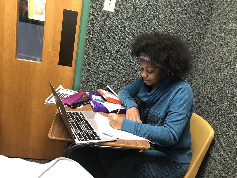 Tiara Bealom studying