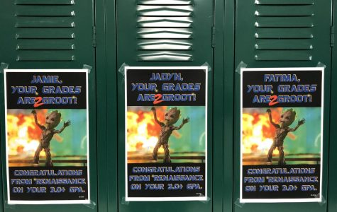 Renaissance puts locker signs up for students with above a 3.0 GPA