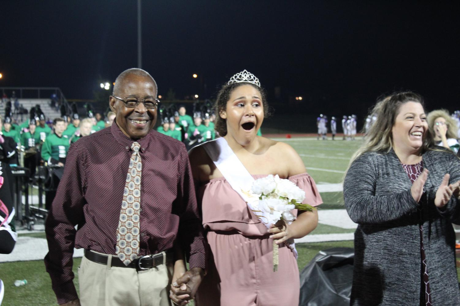Nadia Maddex reacts after being announced as the 2017 Homecoming Queen winner.