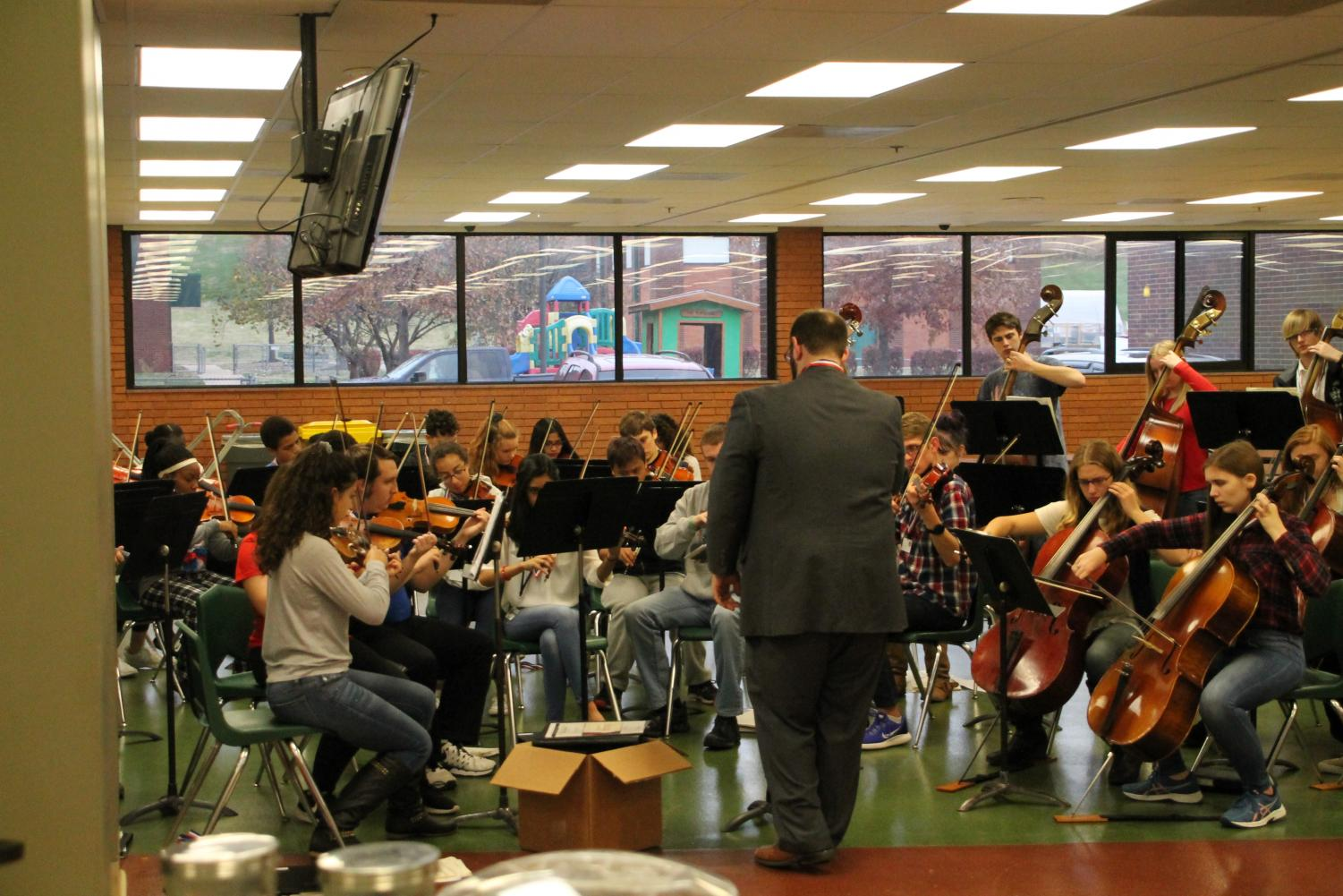 The orchestra performs during the Veterans Day Breakfast held at the school on Monday, Nov. 12.