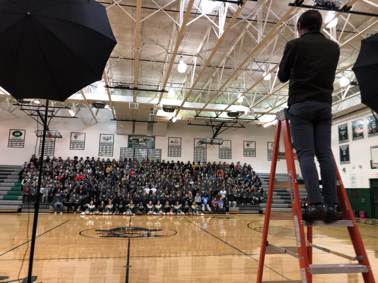 The Class of 2019 went to the main gym for the Senior Panoramic photo on Nov. 29.