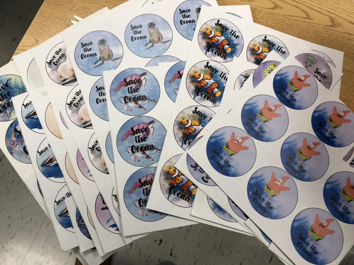 Examples of stickers that will be available for purchase to help support senior Lucy Bodde's project.