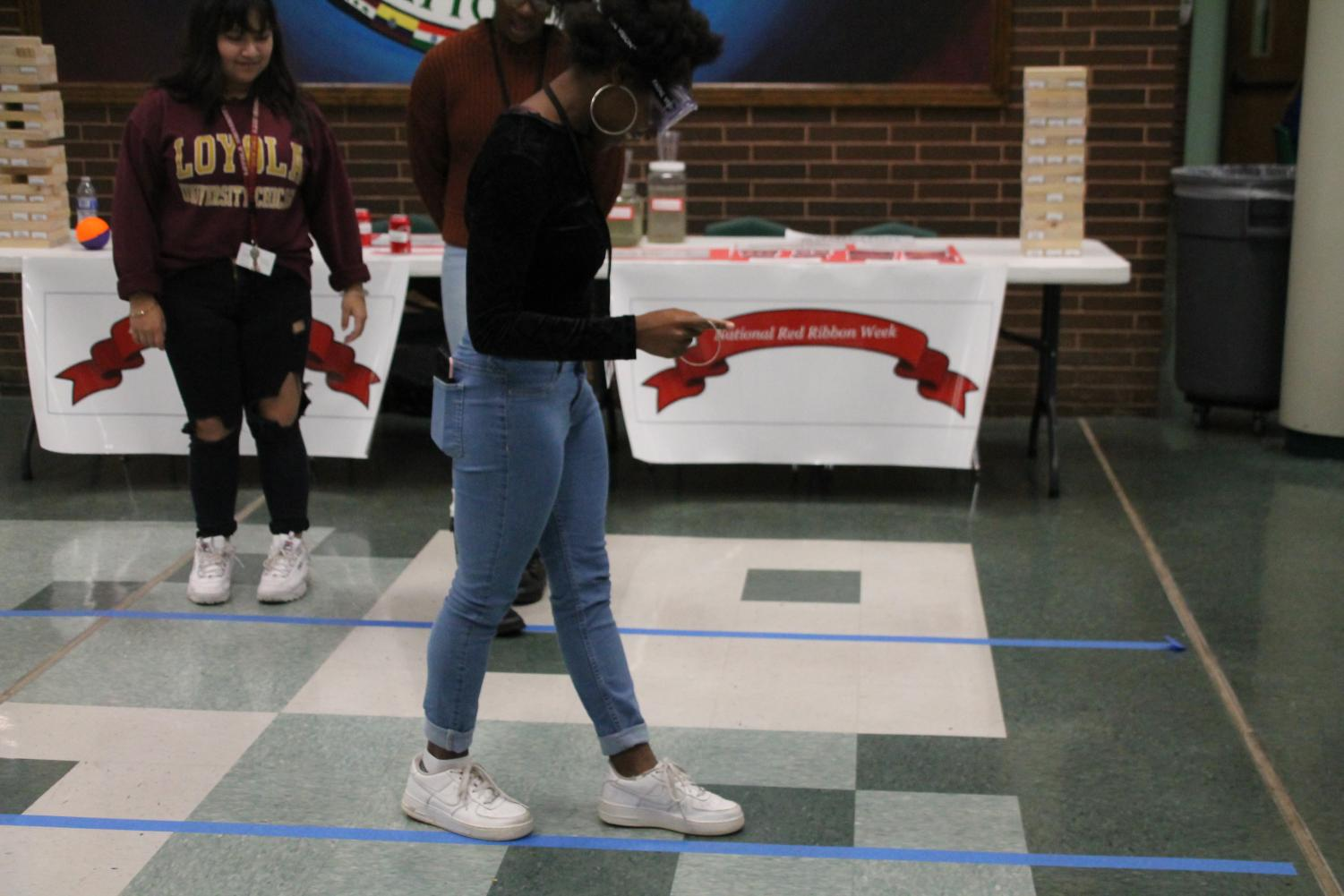 To simulate the effects of drinking, counselors provide students with impairment goggles and ask them to perform normal tasks.
