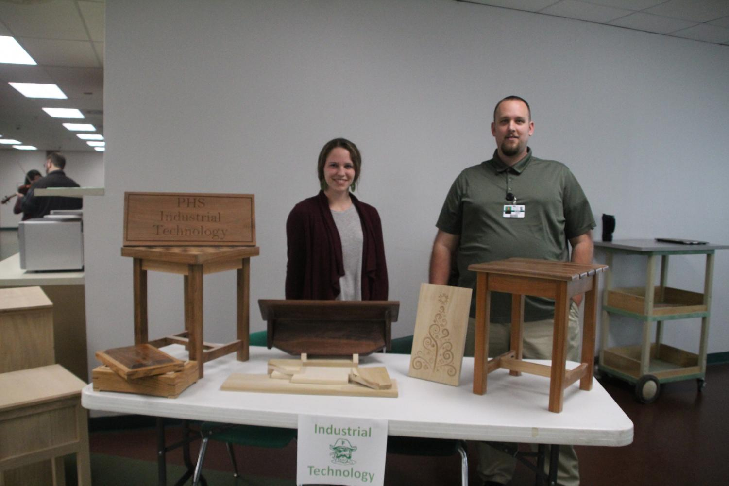 At Curriculum Night, Jon Saetelle and his student teacher Paige Staebell showcase their Industrial Technology program for future and current students.