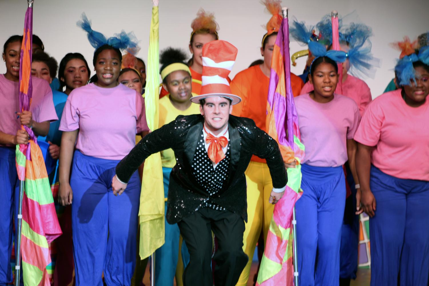 Michael Pirrie, playing the Cat in the Hat in Pattonville High's spring musical, performs Circus McGurkus with the cast to close out Act II.