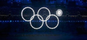 Four of the five Olympic Rings are seen lit up at the start of the opening ceremony of the 2014 Sochi Winter Olympics, February 7, 2014. REUTERS/Lucy Nicholson