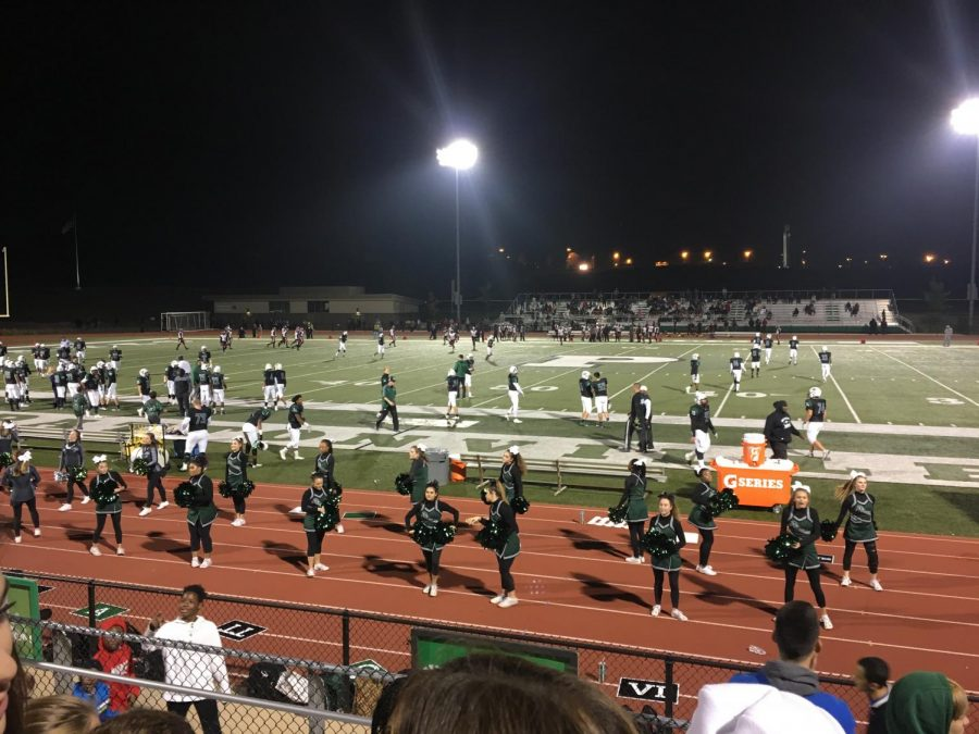 Pattonville+Varsity+Cheerleaders+rally+Pattonville+on+as+they+take+on+Hazelwood+East+in+the+District+Championship.+The+Pattonville+Pirates+beat+Webster+Groves+to+advance+to+the+District+Championship.