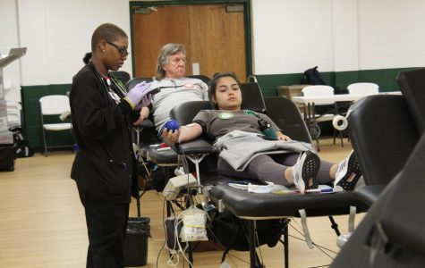 Erica Goryl prepares to donate blood.  Key Club sponsored the spring event in conjunction with the American Red Cross.
