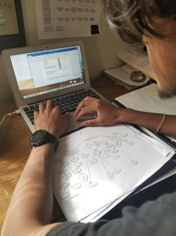Jessel Prabhu works on Human Anatomy while in his room.