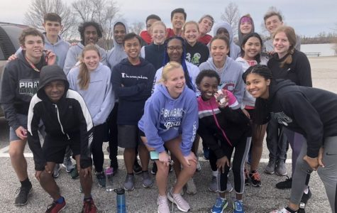 Before the stay home order, the boys' and girls' distance track team at Creve Coeur park after a run. Justin Prater, Kai Mills, Connor Lorino, Joey Mackenbeurg, Caleb Simpkins,  Joshua Killian, Jessel Prabhu, Bryant Ewing, Kalista Roades, Abby Hachmeister, Alyssha Hinga, Drake Ives, Ruth McCarron, Chandler Fajardo, Tajh Martin, Keilah Wilkes, Kaleb Wold, Cordelia Hautekeete, Lucy Ndungu, Athena Housley