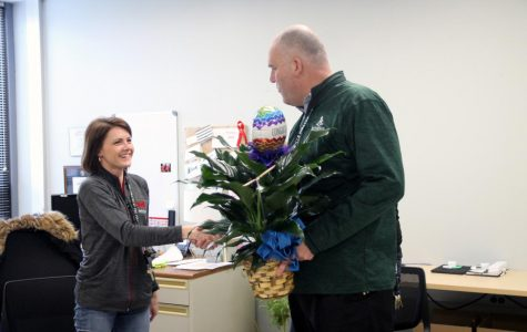 Dr. Dobrinic congratulates Ms. Hasheider on winning PHS Teacher of the Year. Hasheider went on to be a finalist for the district award.