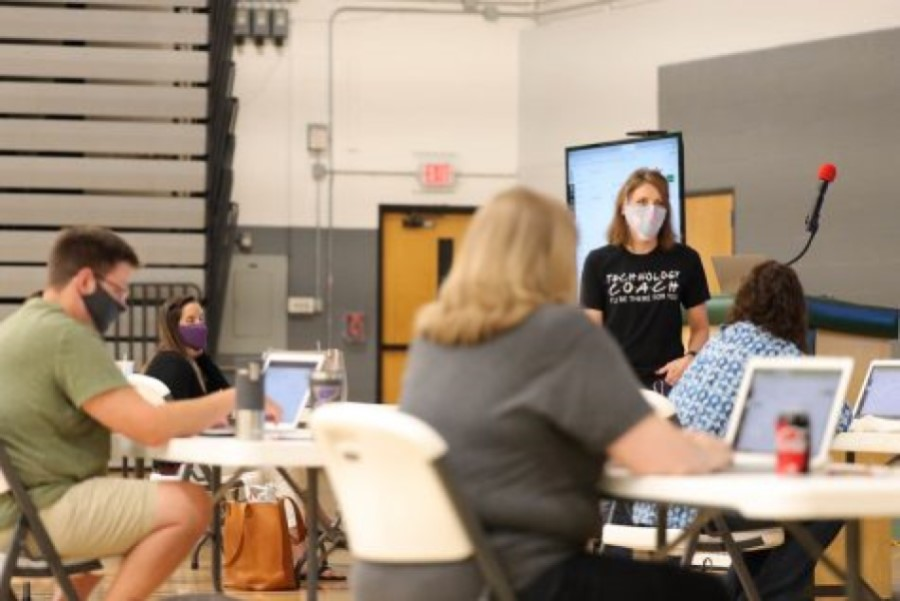 Teachers at PHS attended an in-person extended learning opportunity to help aid teachers for the virtual start of the school year, including training of Canvas, Pattonville's primary virtual platform for this year.
