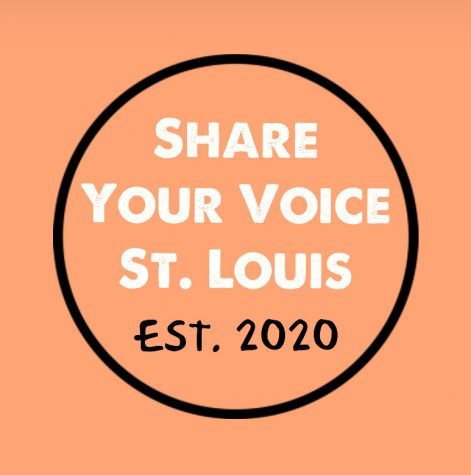Share Your Voice St. Louis Logo, that Bryant Ewing created to help promote student artists.