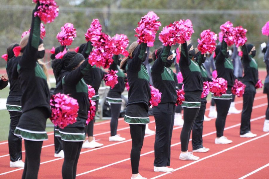 During the boys' varsity soccer game against Parkway Central on October 29, the varsity cheerleading squad dons their masks to perform a cheer. The game ended with a Pattonville victory, 1-0.