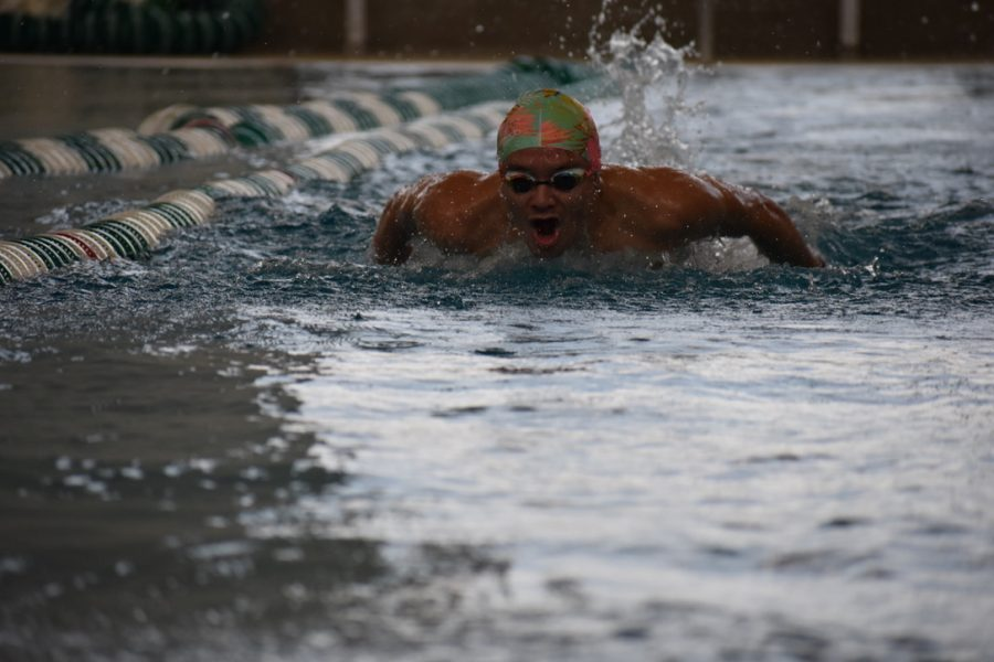 Christopher Tobar, senior, swimming a 100m butterfly at practice preparing for competition.
