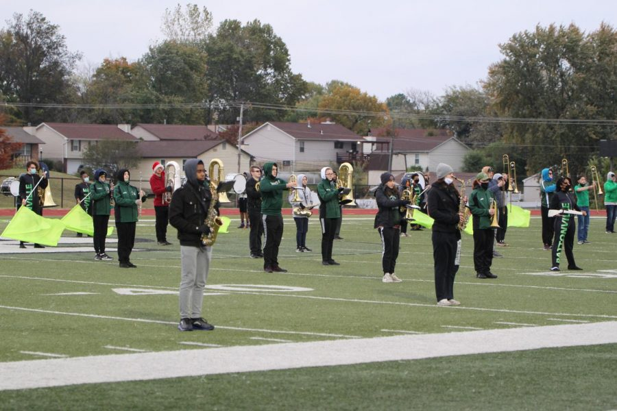 PHS Marching band and color guard perform at halftime  for Boys' Varsity soccer game against Parkway West on October 19.