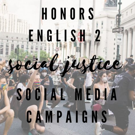 The social media campaign project in Honors English 2 features students
