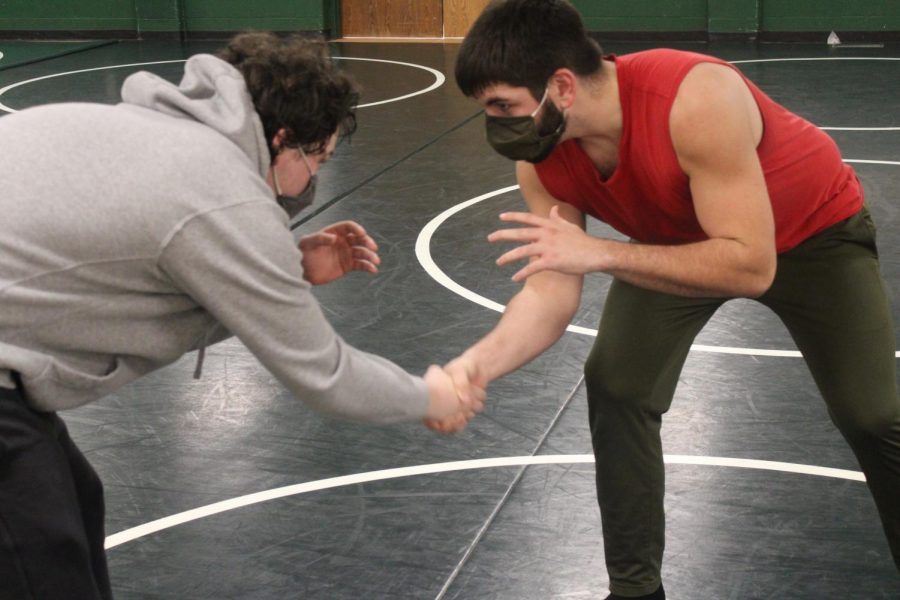 Noah Rosebaugh and Tim Shaefer shakes hands before they start to wrestle each other.