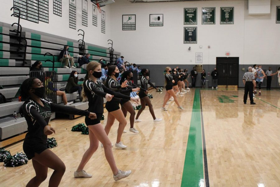 PHS Cheerleaders perform at a boys