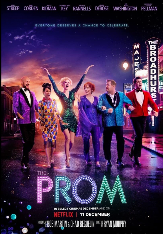 The Prom movie poster, featuring Meryl Streep, James Corden, Trent Oliver, Nicole Kidman, Keegan Michael-Keys, and Kerry Washington.