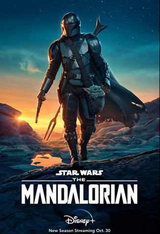 The Mandalorian TV poster featuring the main character of the show which got a 93% on Rotten Tomatoes after the drop of season 2.