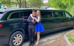 Juniors Mackenzie Rosenthal and Ty Procter pose in front of their limo for their alternate prom.
