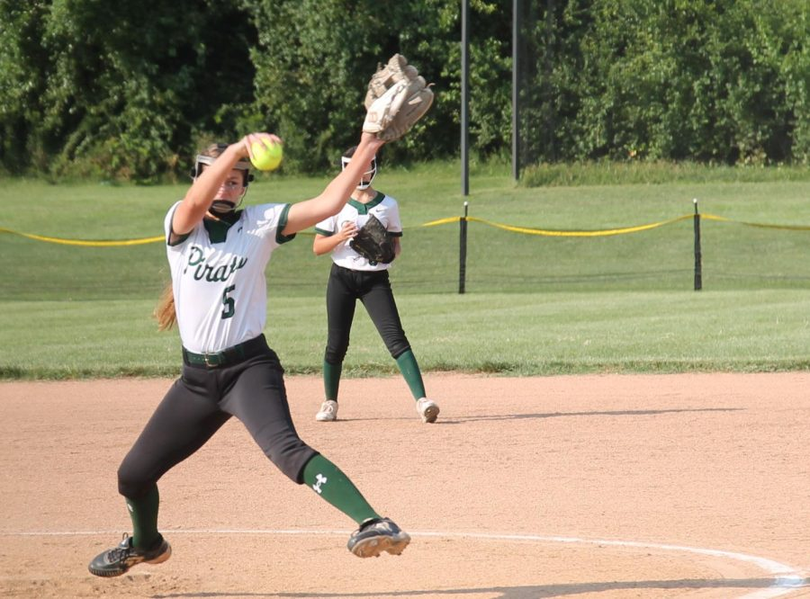 Aiming+for+Districts%2C+the+Lady+Pirates+Softball+team+gets+another+hit+in+their+September+10+game+against+St.+Charles+High.+The+hit+helped+them+achieve+their+11-0+victory.+
