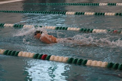 In their September 16 meet against Hazelwood Central, the boys swim team set their sights on another win.