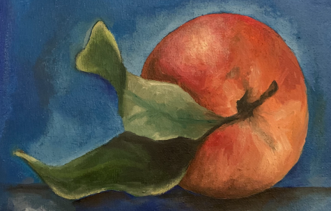 Smith explained, For this piece, I gathered an apple and a blue dropcloth. I used oil paints on canvas, which is the medium I prefer. In particular, the accentuation of the shading on the leaves and the apple are represented well. My paintings can be categorized into portraits or still life, which I like to do the most. Inspiration comes from my real life, seeing the color and artistic aspects of everyday objects. Bringing a certain spotlight to seemingly insignificant objects brings emotion and feeling into life, making it less dull and humdrum. Rooting in realism, painting brings a heart to lifeless objects.